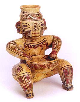 Terracotta Polychrome Vessel Of  A Seated Figure