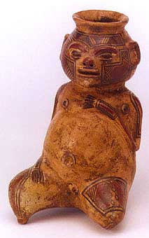 Terracotta Polychrome Seated  Figure