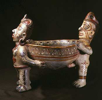 Terracotta Sculpture of a Couple Carrying a Bowl