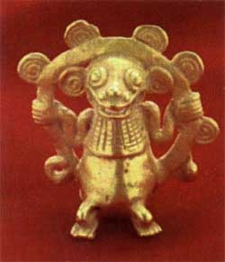 Gold Bell Pendant in the Form of a Monkey