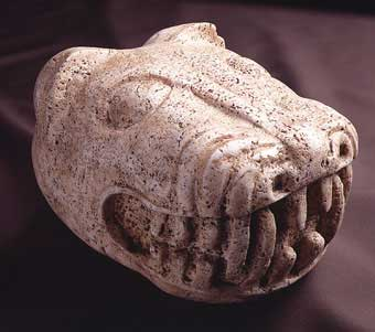 Stone Sculpture of the Head of a Jaguar