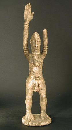 Dogon Wooden Sculpture of a Man with Raised Arms