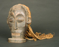 Chokwe Wooden Cihongo Mask with Fibrous Hair