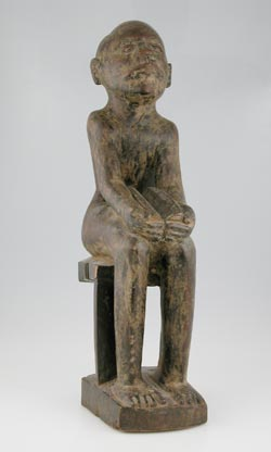 Makonde Wooden Sculpture of a Seated Man
