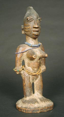 Yoruba Wooden Ibeji Doll with Cowrie Shell Cloak
