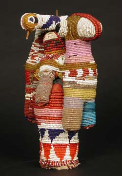 Yoruba Beaded Camel with Two Double-Headed Birds