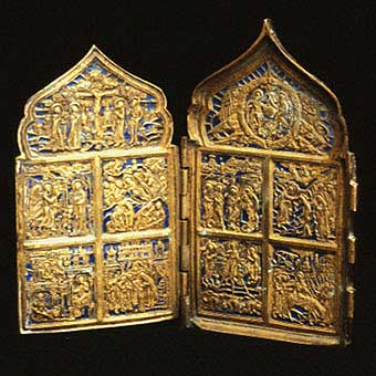 Enameled Brass Traveling Icon