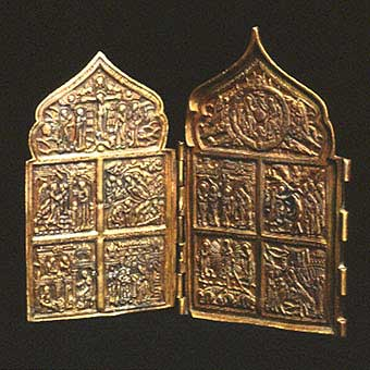 Brass Diptych Traveling Icon