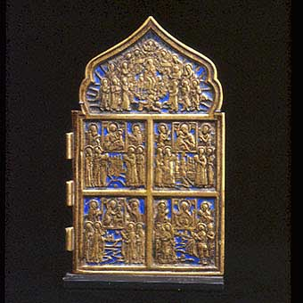 Section of an Enameled Brass Traveling Icon