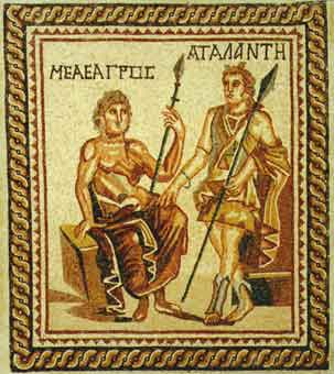 Roman Mosaic Depicting Meleager and Atalanta