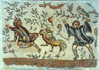 Roman Mosaic Depicting Two Children And A Rooster