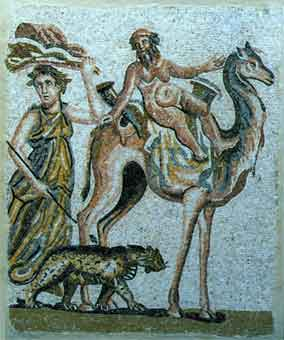 Roman Mosaic Depicting Silenus Riding a Camel