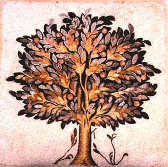 Roman-Byzantine Mosaic of a Large Fruit Tree