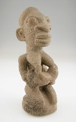 Kissi Soapstone Nomoli Sculpture of a Mother and Child
