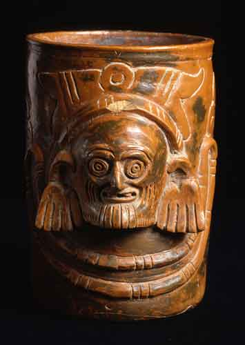 Toltec Plumbate Vessel with a Sculpted Head