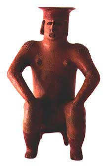 Coahuayana Style Colima Terracotta Vessel in the Form of a Seated Woman