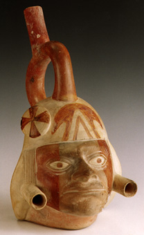 Moche Portrait Head Stirrup Vessel