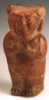 Chimu Rattle in the Form of a Standing Woman