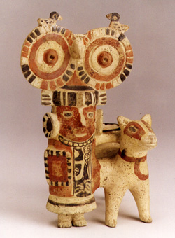Recuay Style Costumed Figure with a Llama