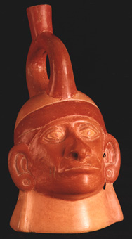 Moche Portrait Head Vessel with a Pierced Nose