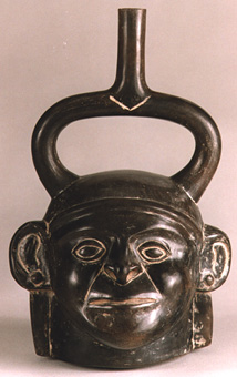 Moche Blackware Portrait Head Vessel