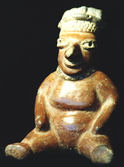 Mayan Sculpture of a Seated Man