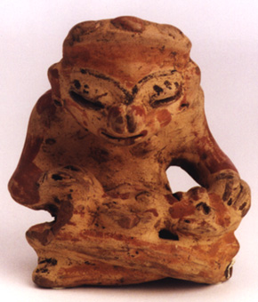 Mayan Sculpture of a Seated Mother with Child