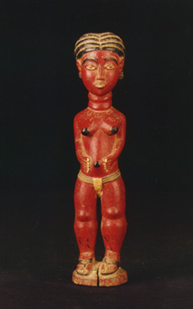 Asante Wooden Polychrome Fertility Doll