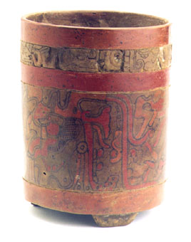 Mayan Polychrome Engraved Cylindrical Vase
