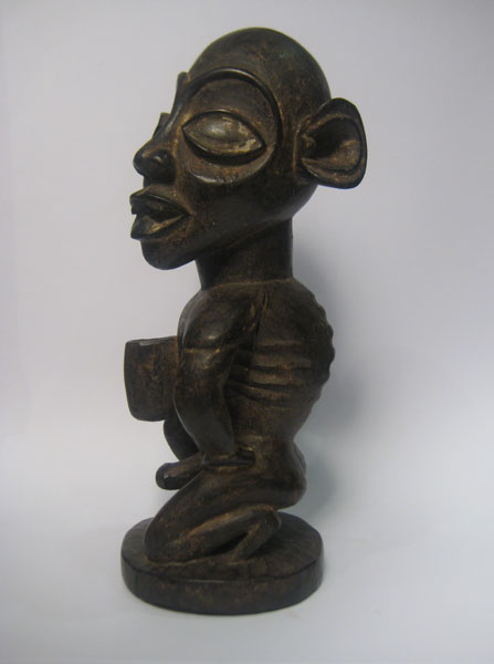 Kongo Wooden Sculpture of a Kneeling Man