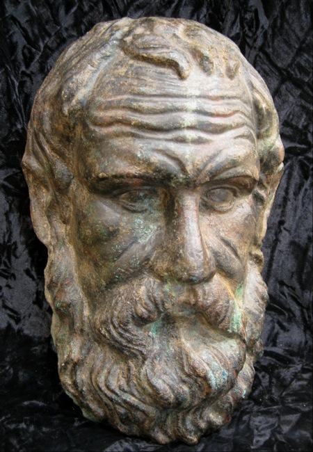 Classical Bronze Head Depicting Plato
