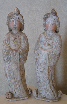 Pair of Tang Sculptures of Fat Ladies
