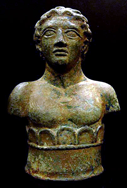 Roman Bronze Decorative Bust of a Young Man