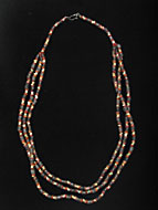 Carnelian, Brown Quartz, and Faience Bead Necklace