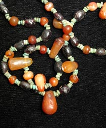 Carnelian, Garnet and Faience Bead Necklace