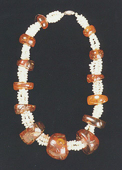Amber Bead Necklace with Pearls