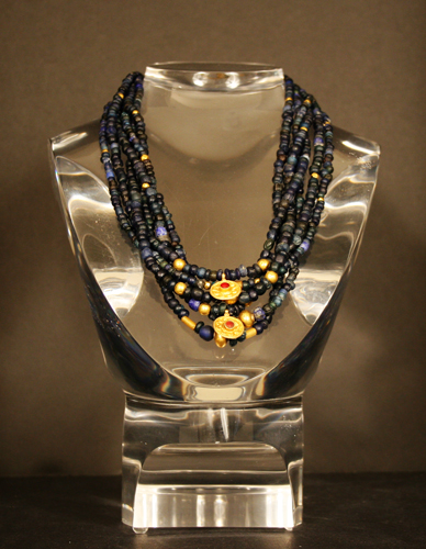 Ancient Glass and Gold Bead Necklace with Pendants