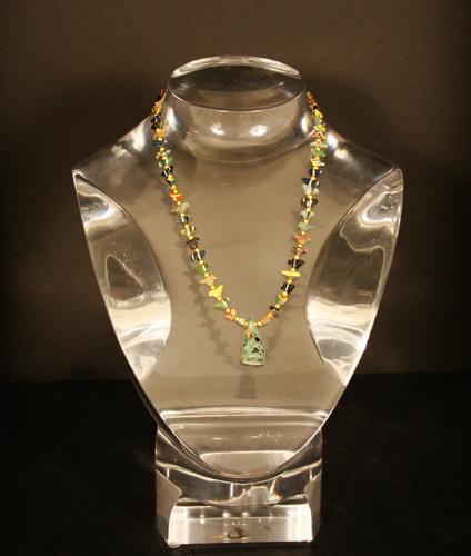 Ancient Glass and Gold Bead Necklace with Bronze Bell Pendant