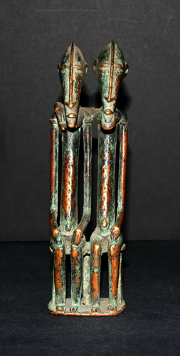 African Art / Dogon Bronze Primordial Seated Couple
