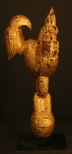 Akan Staff Finial Depicting an Elephant and a Bird