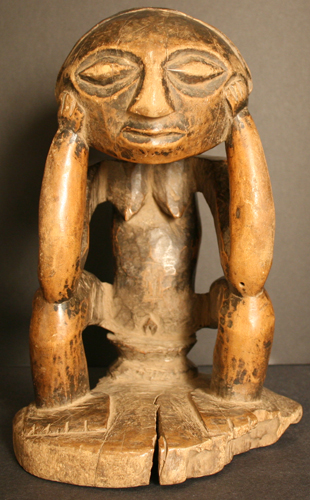 Luba Wooden Sculpture of a Seated Woman