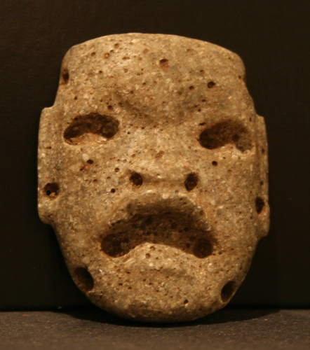 Olmec Stone Mask Pendant Depicting a Were-Jaguar