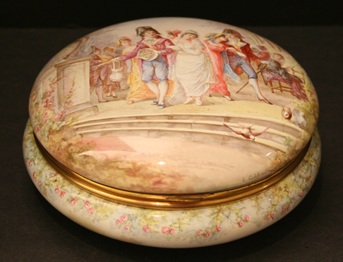 Enamel Container Painted by L. Coblentz