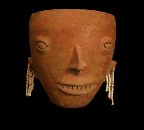 Colima Terracotta Vase in the Form of a Head