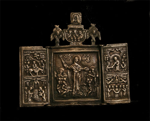 Russian Silver Traveleing Icon