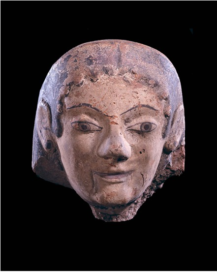 Etruscan Archaic Polychrome Protome in the Form of a Woman's Head