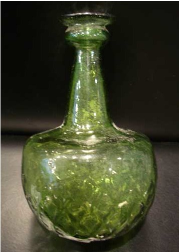 Green Mold-Blown Islamic Bottle