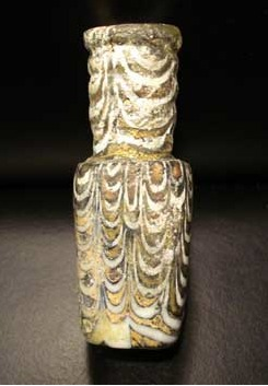 Early Islamic Glass Bottle with Marvered Trails