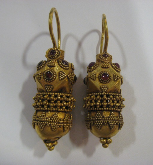 Pair of Ottoman Gold Earrings in the Roman Style