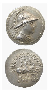 Bactrian Silver Tetradrachm of King Eukratides I